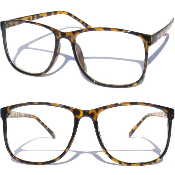 Vintage Style Retro Tortoise Clear Glasses