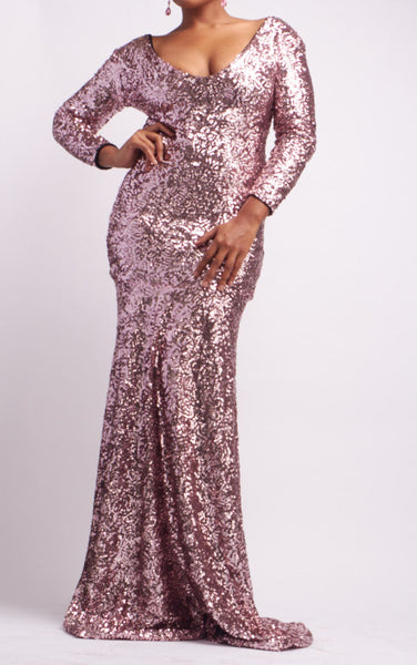 Rose Pink Sequin Long Sleeve Mermaid Gown