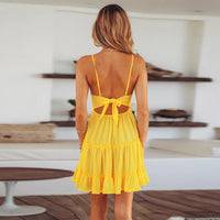 St. Lucia Yellow Backless Yellow Mini Dress