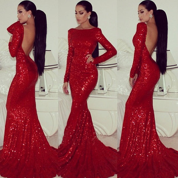 Sexy Red Sequin Long Sleeve Backless Mermaid Dress