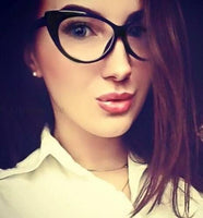Vintage Style Cat Eye Black Clear Elegant Glasses