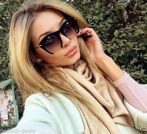 Gradient Black Semi Rimless Gold Lined Sunglasses
