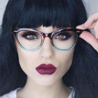 Ombre Cat Eye Clear Lens Two Tone Glasses