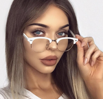 Wayfarer Half Rim White Two Tone Clear Glasses