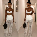 Sofia White Lace Crop & Pants Jumpsuit Set