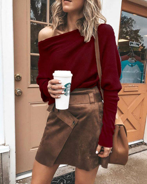 Red One Shoulder Long Sleeve Knit Top