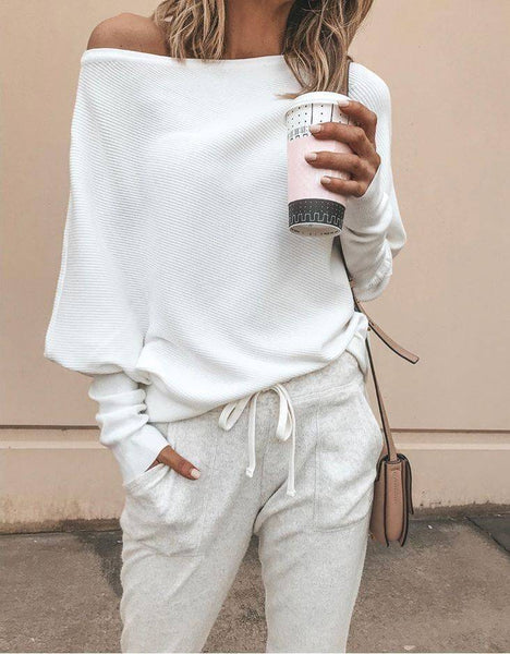 Slouchy White One Shoulder Long Sleeve Knit Top