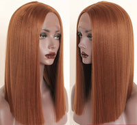 "Cinnamon Brown 14"" Lace Front Wig Women Short Bob Synthetic Full Head Hair Wig"