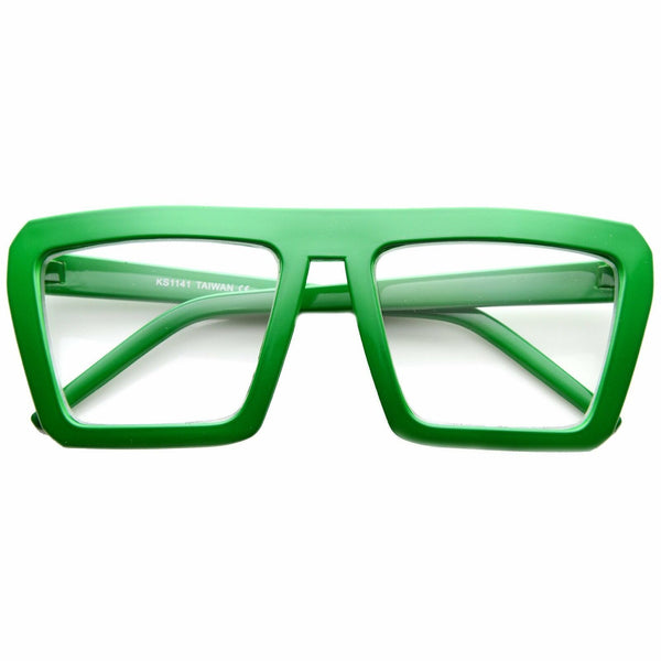 Retro Flat Top Green Square Block Aviator Clear Lens Glasses