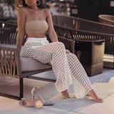 White Knit Boho Beach Cover Up Pants