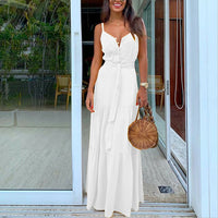 Lunch In The City White Buttoned Maxi Dress