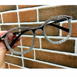 Retro Vintage Rhinestone Brown Studded Clear Lens Glasses