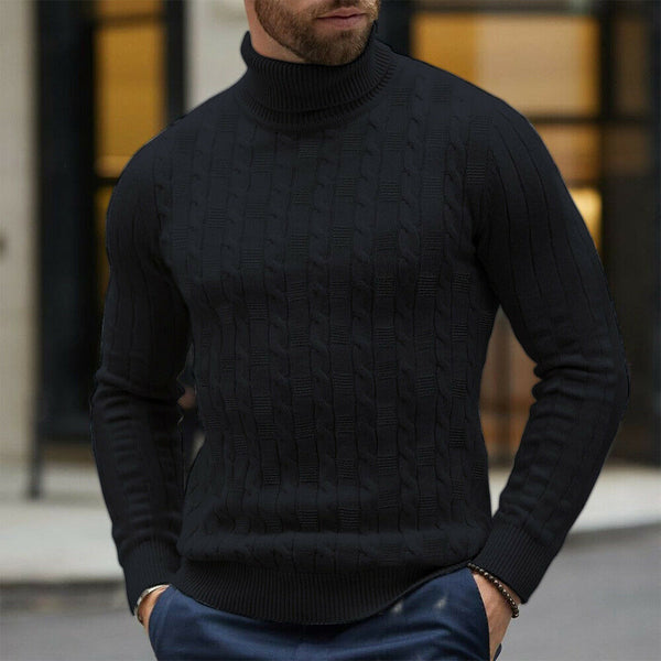 Men's Black Cable Knit Long Sleeve Turtleneck Sweater