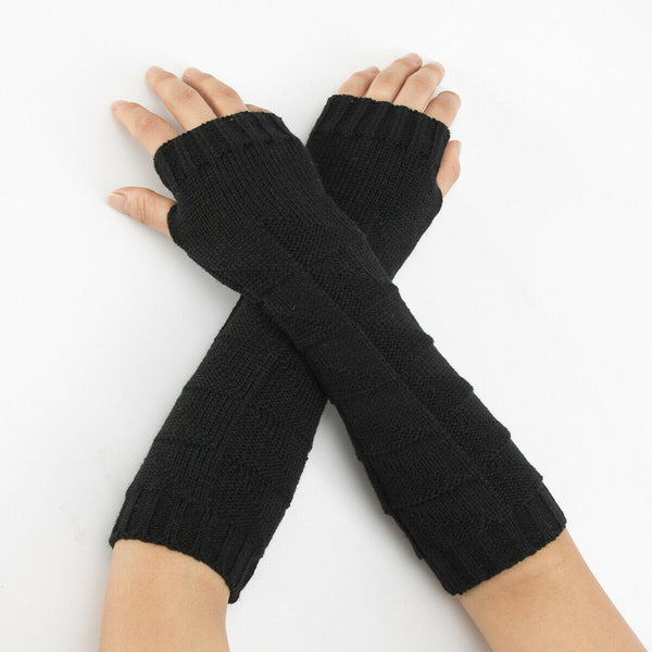 Warm Knit Black Arm Length Finger less Gloves