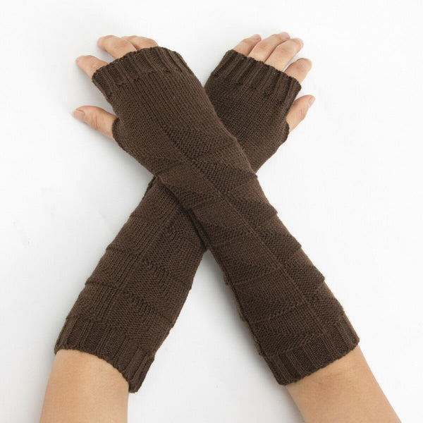 Warm Knit Chocolate Arm Length Finger less Gloves