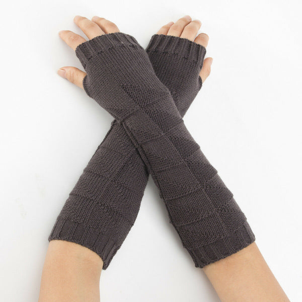 Warm Knit Charcoal Arm Length Finger less Gloves