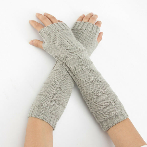 Warm Knit Grey Arm Length Finger less Gloves
