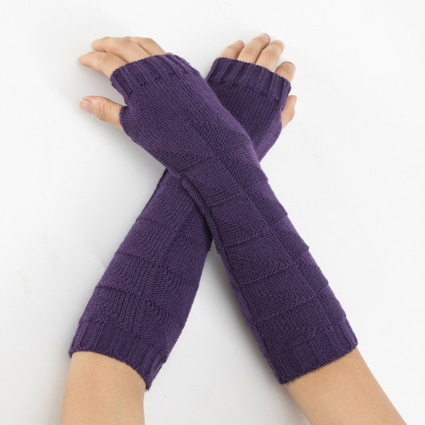 Warm Knit Purple Arm Length Finger less Gloves