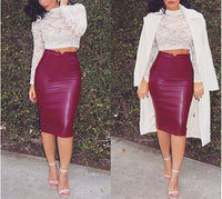 Caramel Brown Faux Leather Pencil Skirt