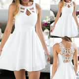 White Cut Out Lace Sleeveless Skater Dress
