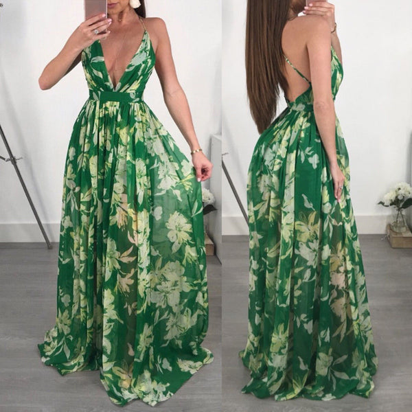 Heavenly Green Floral Backless Maxi Dress