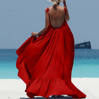 Island Oasis Red Backless Maxi Dress