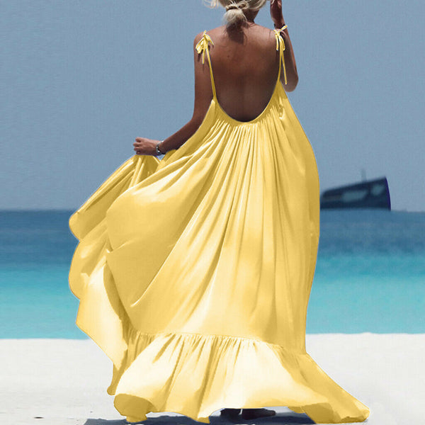 Island Oasis Yellow Backless Maxi Dress