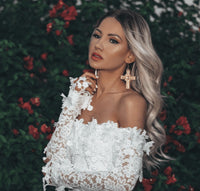 French Lace Off Shoulder White Mini Dress