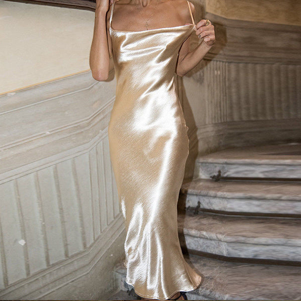 Champagne Gold Satin Cocktail Dress
