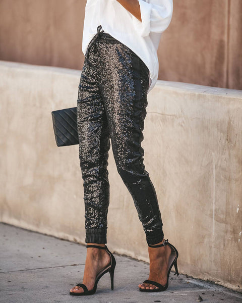 Sporty Black Sequin Drawstring Pants