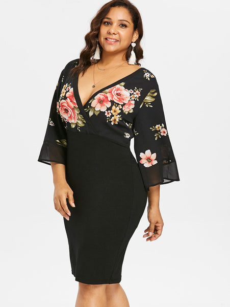 Plus Size Black Floral Kimono Sleeve Midi Dress