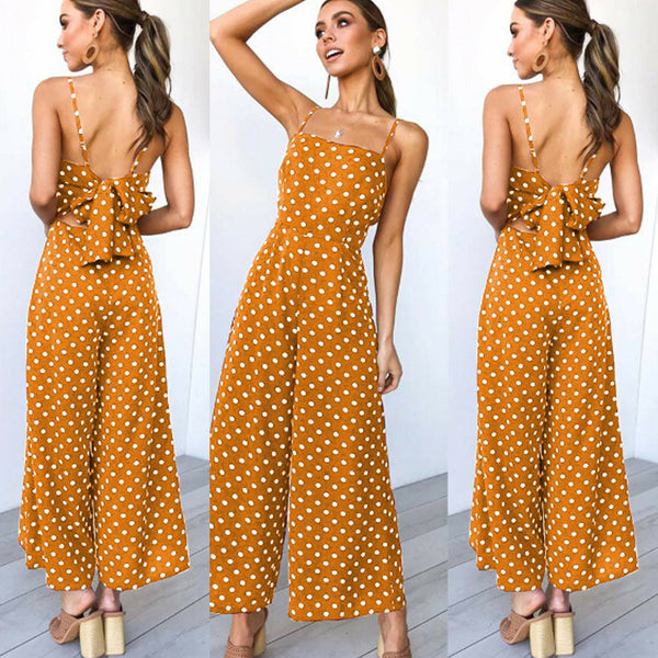 Mustard Yellow Polkadot Bow Tie Sleeveless Jumpsuit
