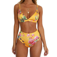 Yellow Floral High Waist 2pc Bikini Swimsuit
