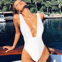 Plunging Black V Cut One Piece Swimsuit