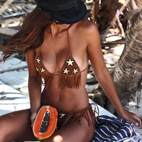 Texas Stars Brown Suede Fringe Bikini Swimsuit