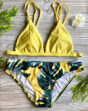 Resort Style Yellow Floral Printed 2pc Bikini Swimsuit