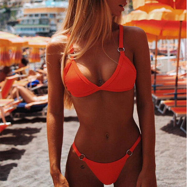 Summer In Brazil Orange 2pc Bikini Swimsuit