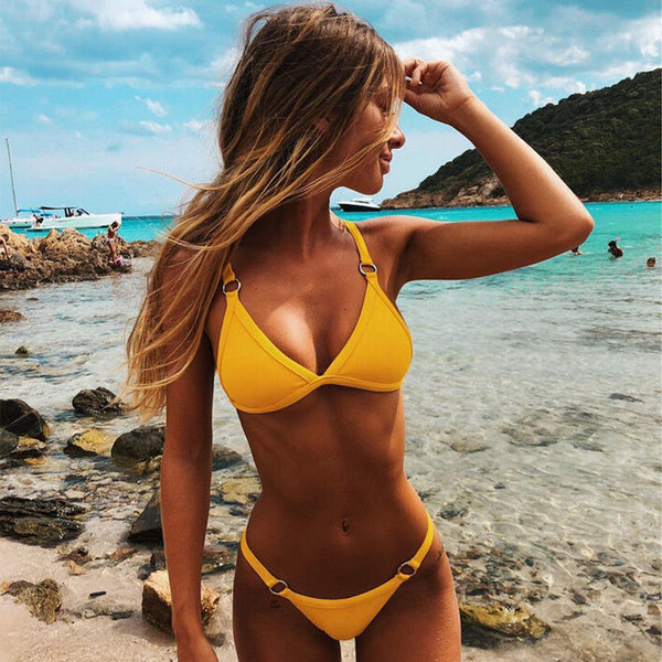 Summer In Brazil Yellow 2pc Bikini Swimsuit