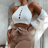 White Knit Cut Out Halter Crop Top