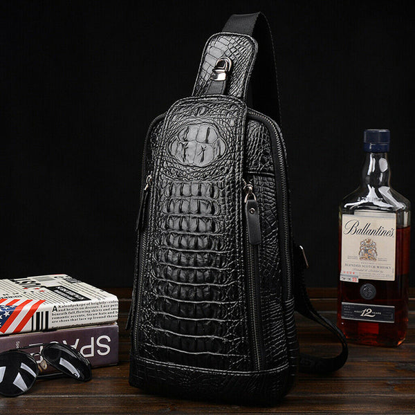 Men's Black Crocodile Style Leather Zip Front Cross Body Bag