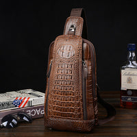 Men's Camel Brown Crocodile Style Leather Zip Front Cross Body Bag