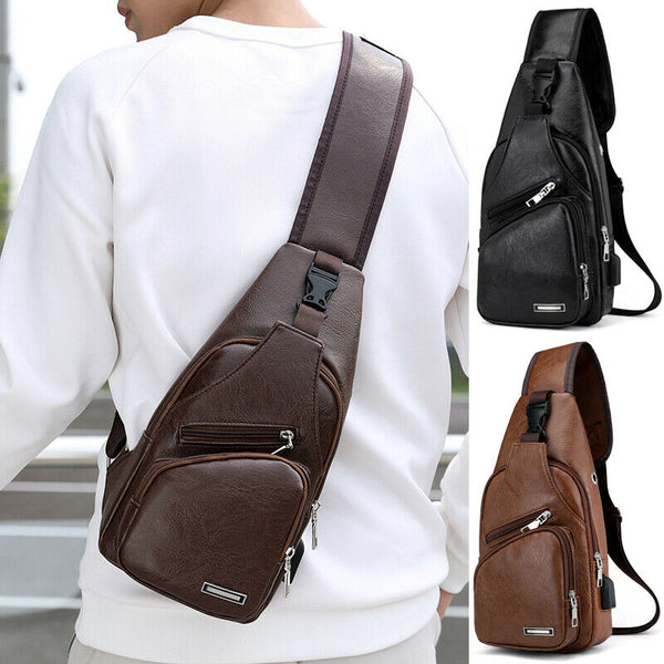 Men's Dark Brown Leather Zip Front Cross Body Bag