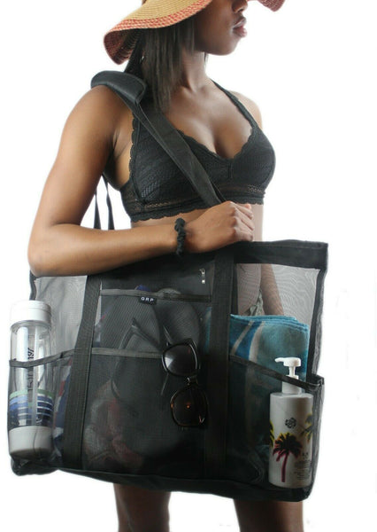 Black Oversized Mesh Tote Beach Bag