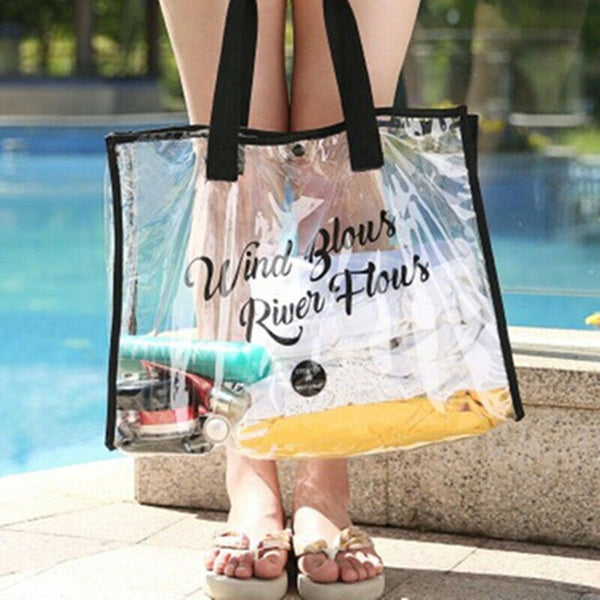 Black Waterproof Jelly Clear Transparent Tote Style Beach Bag