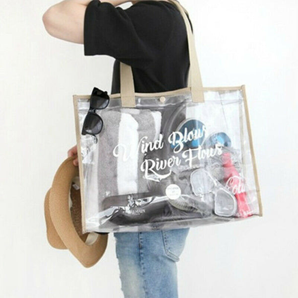 Beige Waterproof Jelly Clear Transparent Tote Style Beach Bag