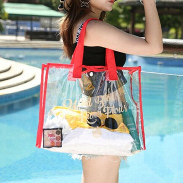 Red Waterproof Jelly Clear Transparent Tote Style Beach Bag