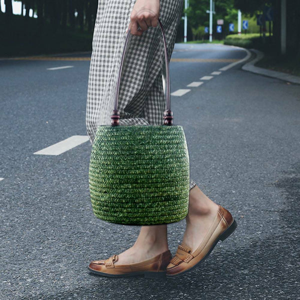 Vintage Green Summer Travel Style Brown Wheat Straw Braided Handbag