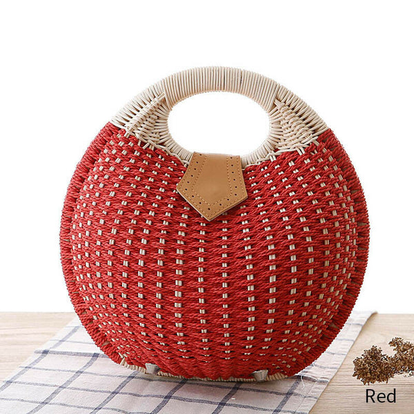 Top Handle Chelsea Red Straw Summer Handbag