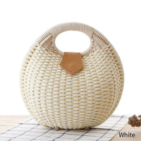 Top Handle Chelsea White Cream Straw Summer Handbag