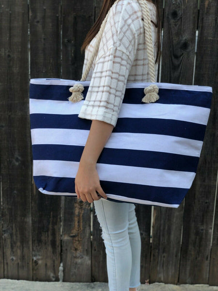 Top Handle Striped Monica Navy Blue & White Summer Beach Handbag